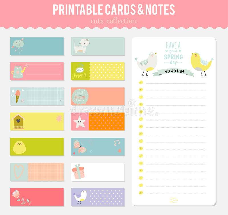 Set of cards, notes and stickers with cute royalty free illustration