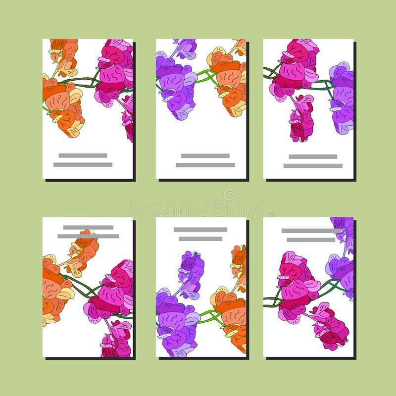 Floral set of templates for your design, greeting cards, festive announcements, posters. Set of 6 cards with orange, pink and violet sweet pea. Template for your vector illustration