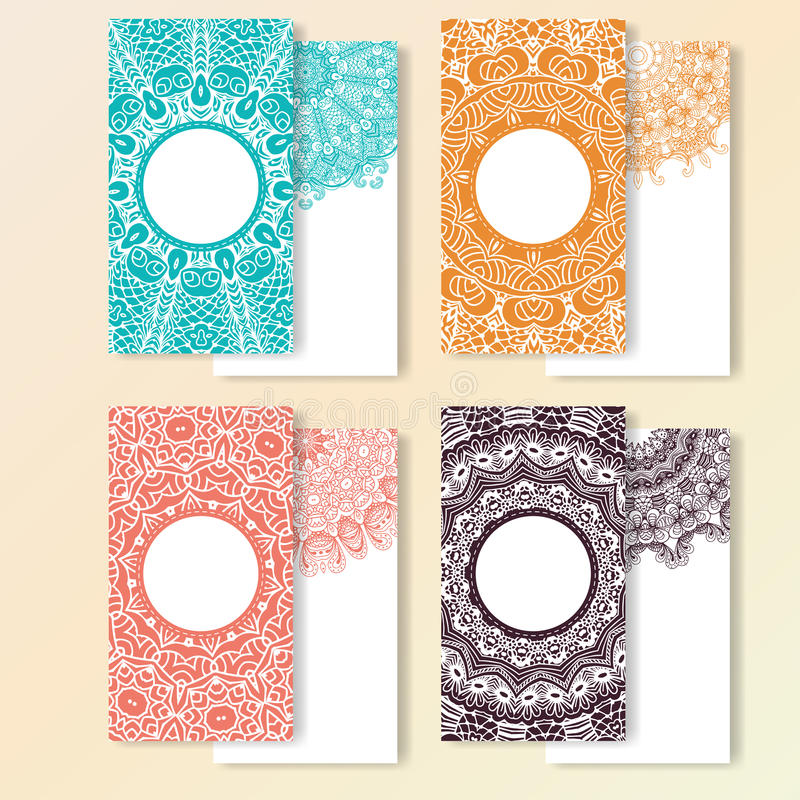 Set of cards. Ornate design can used for invitation, greeting or business card. Template for your design. Mandala vector backgroun vector illustration