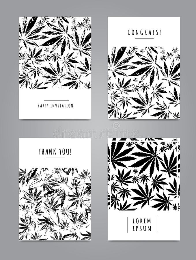 Set of cards with pattern of marijuana leaves stock illustration
