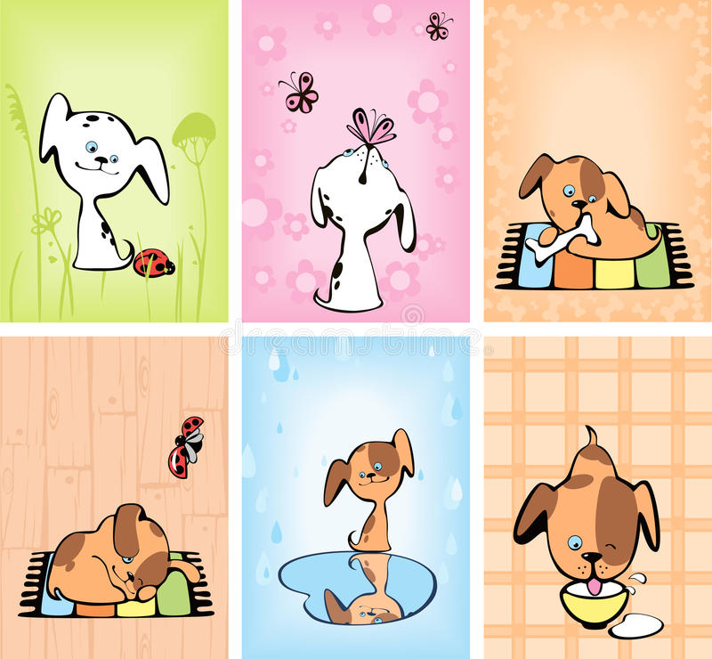 Set Of Cards With Puppies. Stock Photos