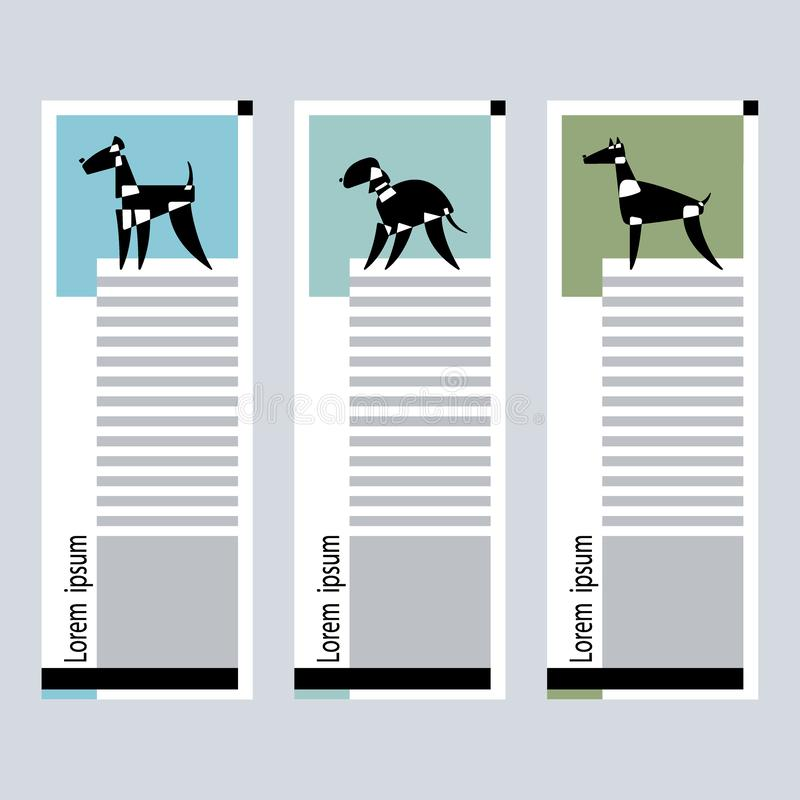 Set of Cards with the stylized dog breeds of bedlington, airedale terrier and doberman on a graphic background. Vector Illustratio stock illustration