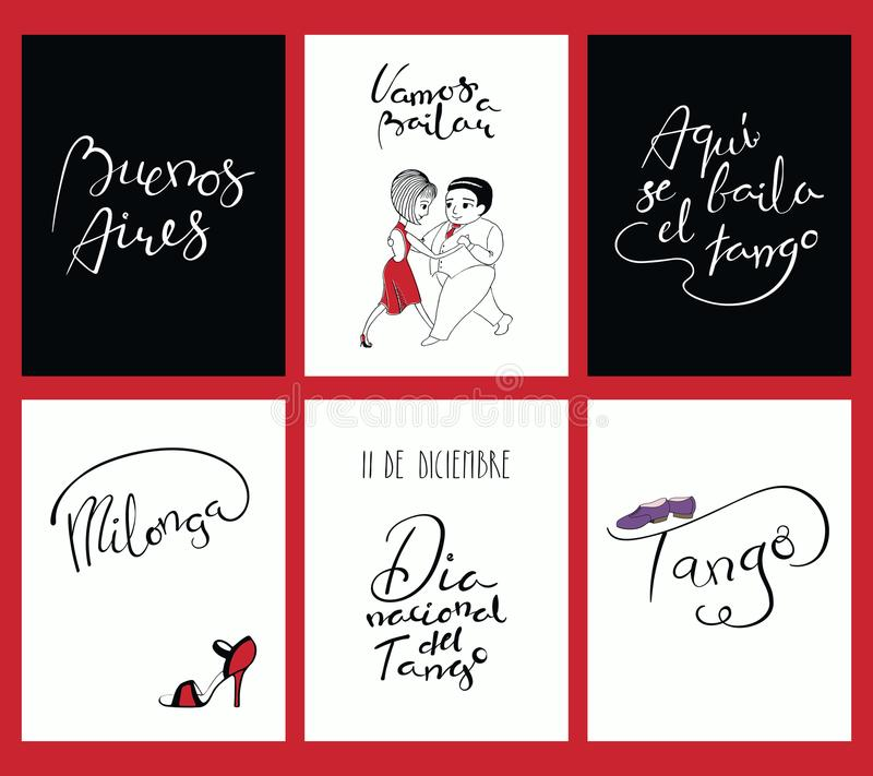 Set Of Cards With Tango Quotes Stock Vector - Illustration