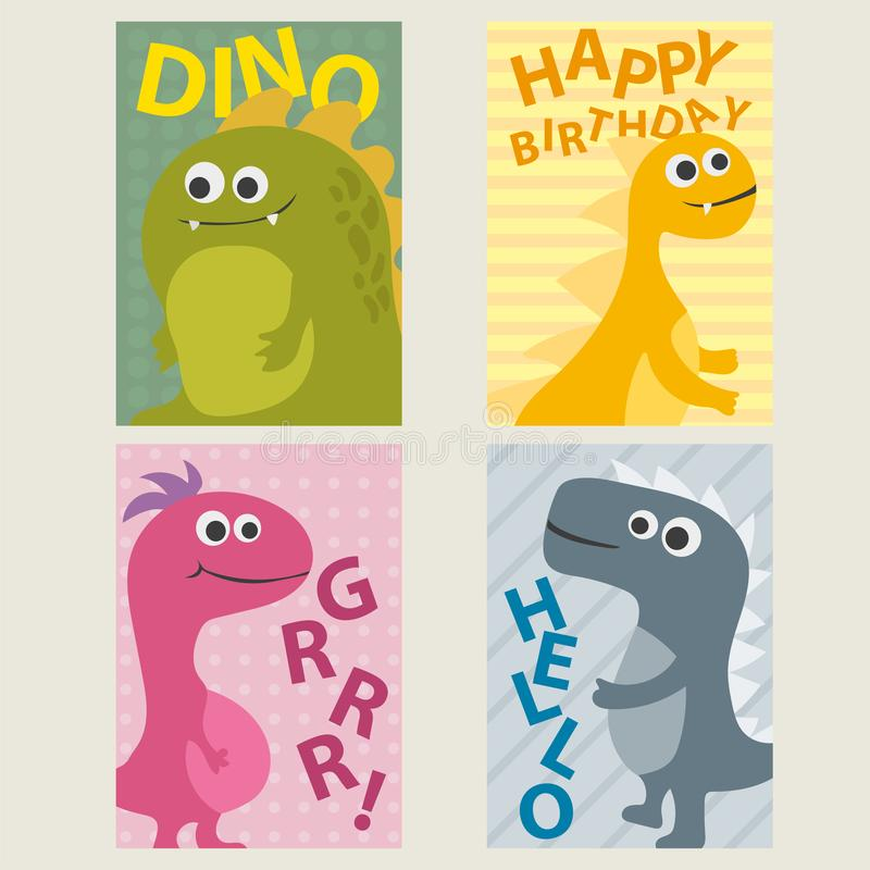 Set of 4 cards templates with dinosaurs for birthday, invitations, scrapbooking. Set of 4 cute creative cards templates with dinosaurs for birthday, anniversary stock illustration