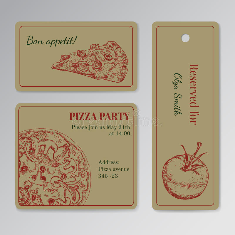 Set of cards templates for pizza party vector illustration
