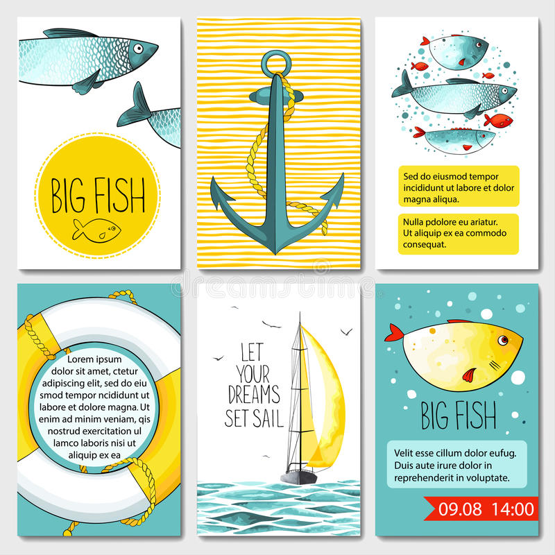 Set of 6 cards templates with sea background stock illustration