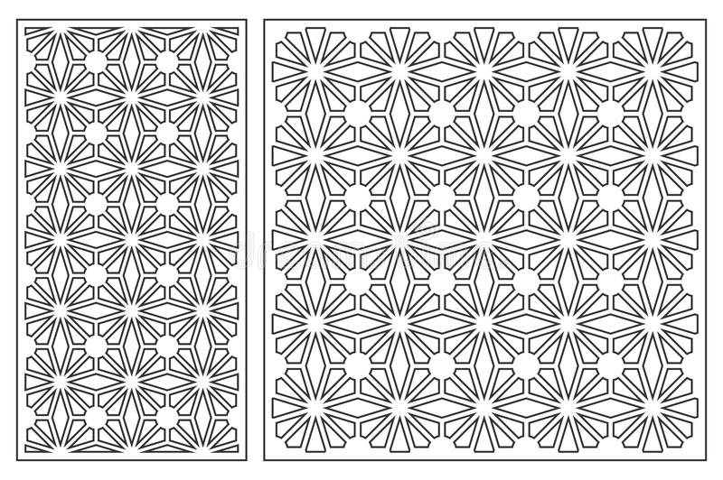 Set of cards to cut. Vector panels for laser cutting. The ratio 1:2, 1:1. Cut silhouette with geometric patterns. Used for openwork partitions, panels stock illustration