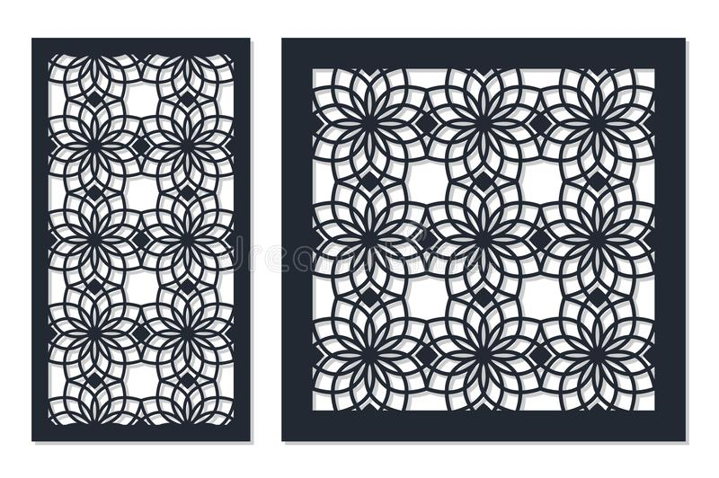 Set of cards to cut. Vector panels for laser cutting. The ratio 1:1, 1:2. Cut silhouette with geometric patterns. royalty free illustration