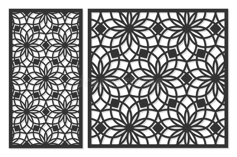 Set of cards to cut. Vector panels for laser cutting. The ratio 1:1, 1:2. Cut silhouette with geometric patterns. vector illustration