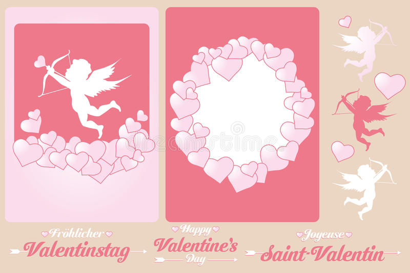 Set of cards for Valentines Day. Set of cards and design elements for Valentine's Day with international (German, English and French) interchangeable wishes vector illustration