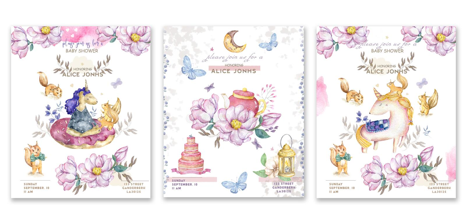 Set cards watercolor isolated cute watercolor unicorn and sqirrel clipart. Nursery unicorns illustration. Princess unicorns poster stock illustration
