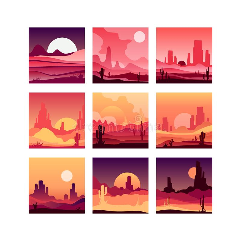 Vectoe set of cards with western desert landscapes with silhouettes of rocky mountains, cactus plants and sunset sunrise stock illustration