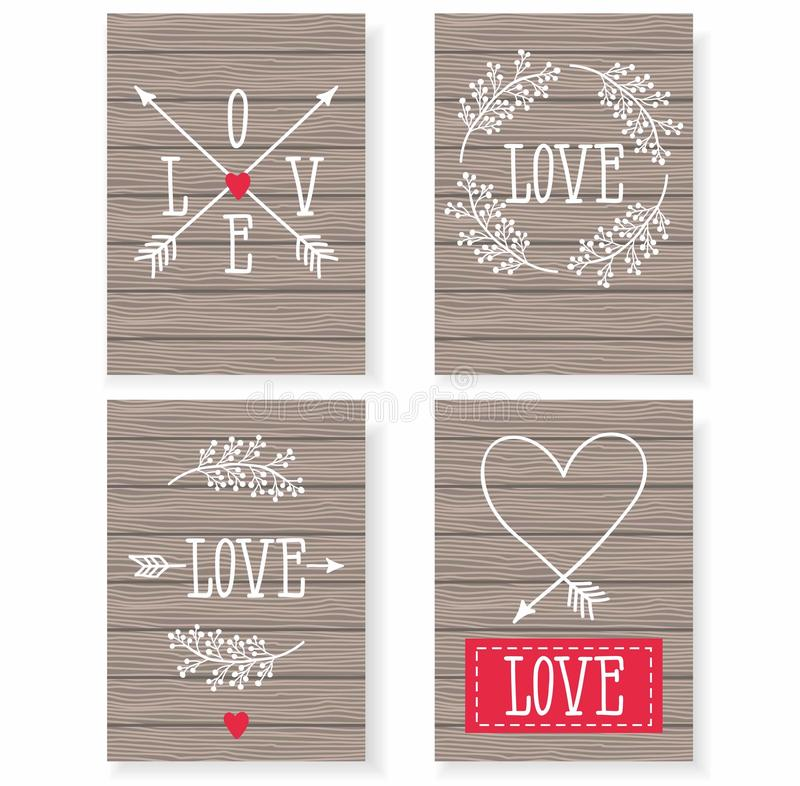 Set of cards for your design. Love. Cards for the holiday. Valentine's Day. stock illustration