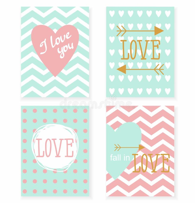 Set of cards for your design. Love. royalty free illustration