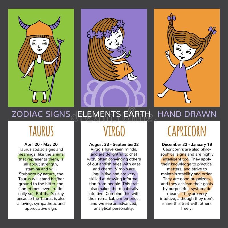 Virgo Calendar May : Set of cards zodiac signs stock vector illustration
