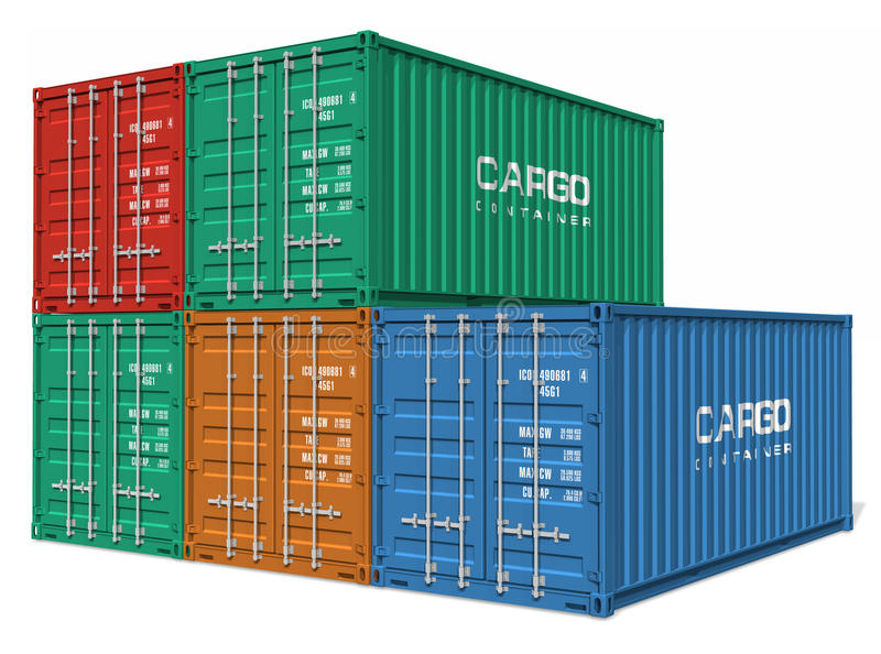 Set of cargo containers. Set of color cargo containers isolated over white background vector illustration