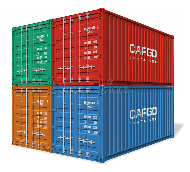 Set of cargo containers. Set of four color cargo containers isolated on white background stock illustration