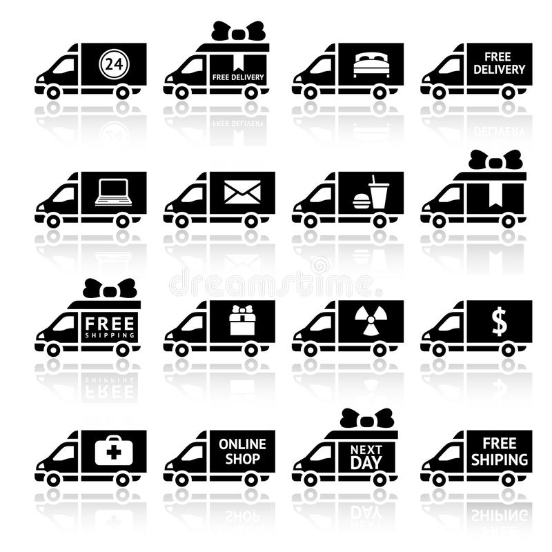 Set of Cargo trucks black icons royalty free stock images