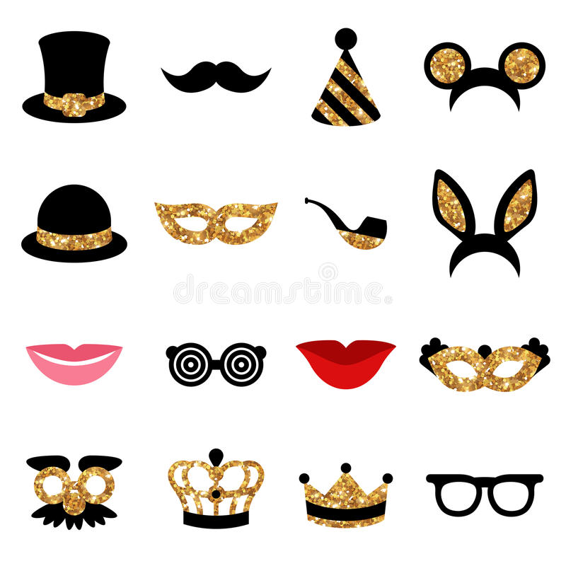 Set of Carnival Icons and Objects. Black Color with Golden Pattern. Vector Illustration vector illustration