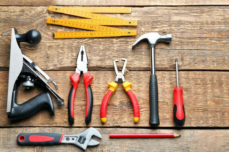 Set of carpenter`s tools stock image