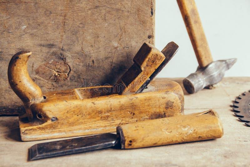 Set of carpenters tool at carpenters workshop stock photos