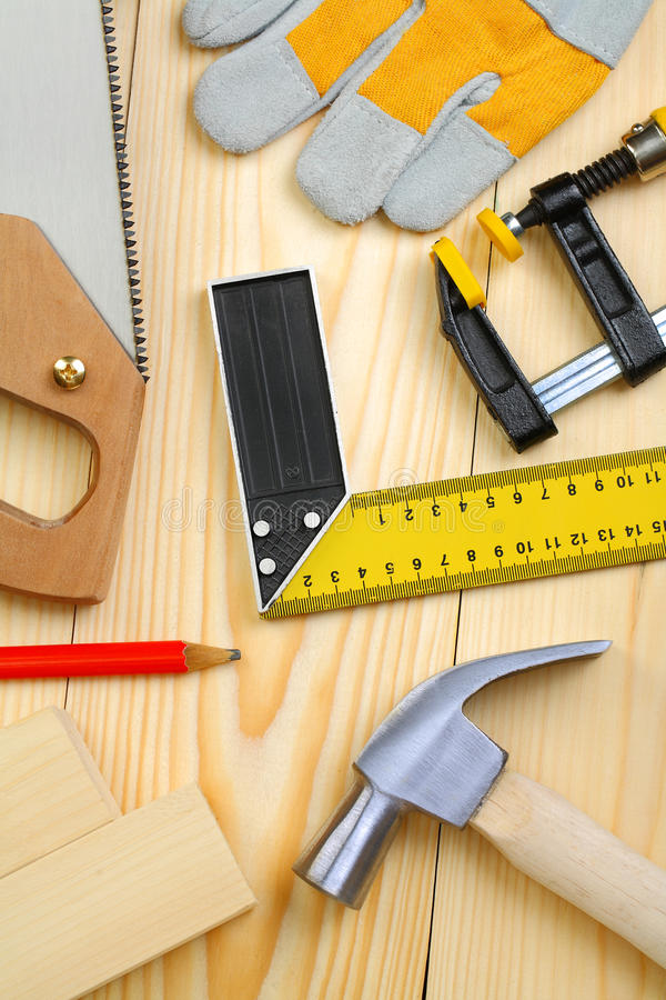 Download Set Of Carpentry Tools On Wooden Planks Stock Photo - Image: 25741490