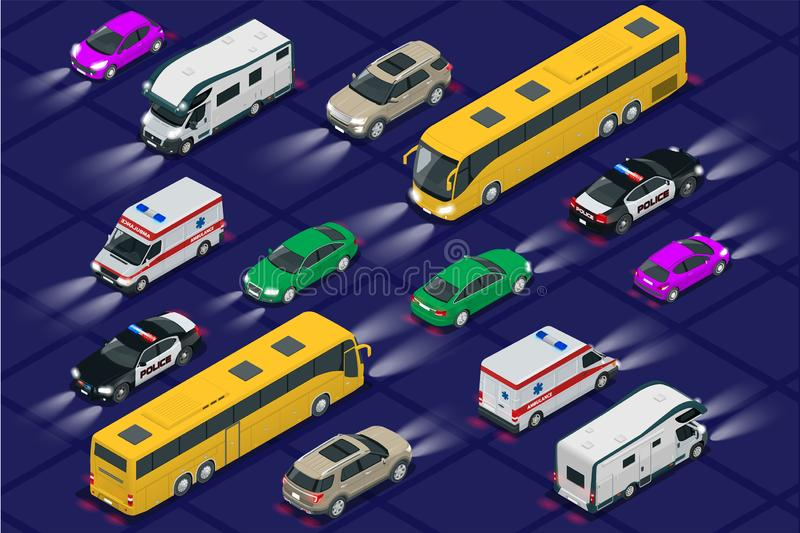 Set cars with car lights realistic isometric view. Automobile car headlights in darkness. Urban public transport for royalty free illustration