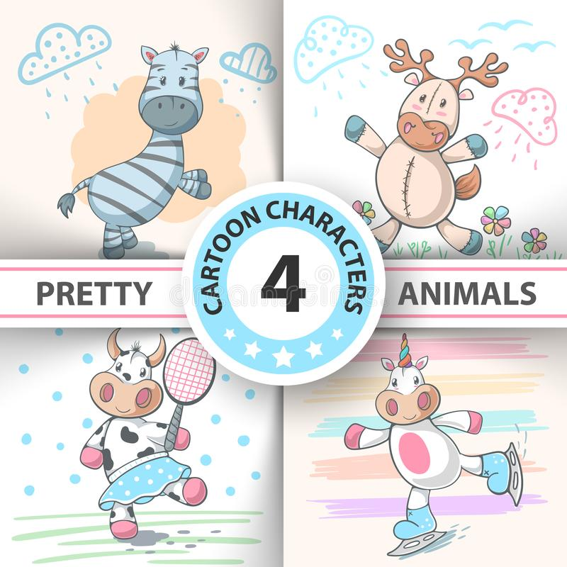 Set Cartoon animals cow, deer, bull, zebra, unicorn. stock illustration