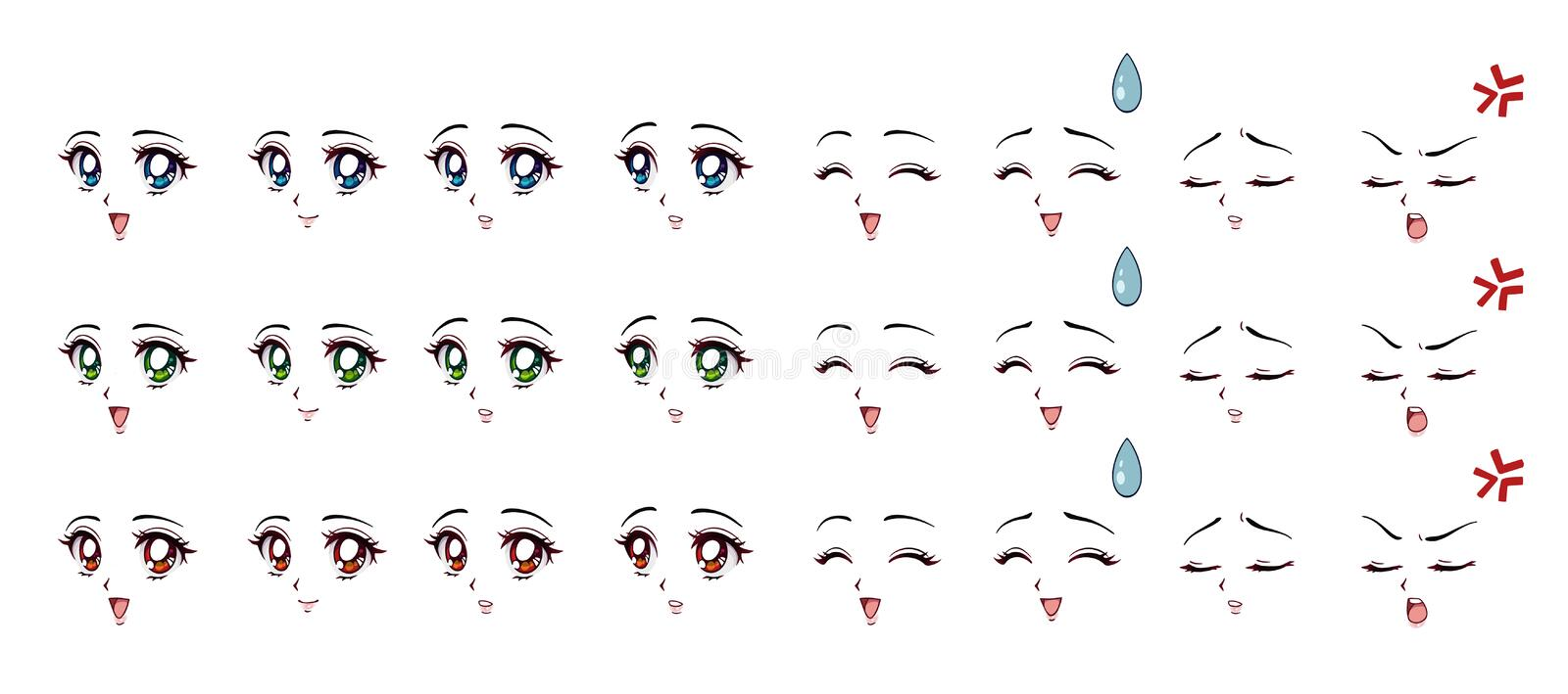 Set of cartoon anime style expressions. Different eyes, mouth, eyebrows. Three different colors red, green, blue. Hand drawn vector illustration isolated on vector illustration