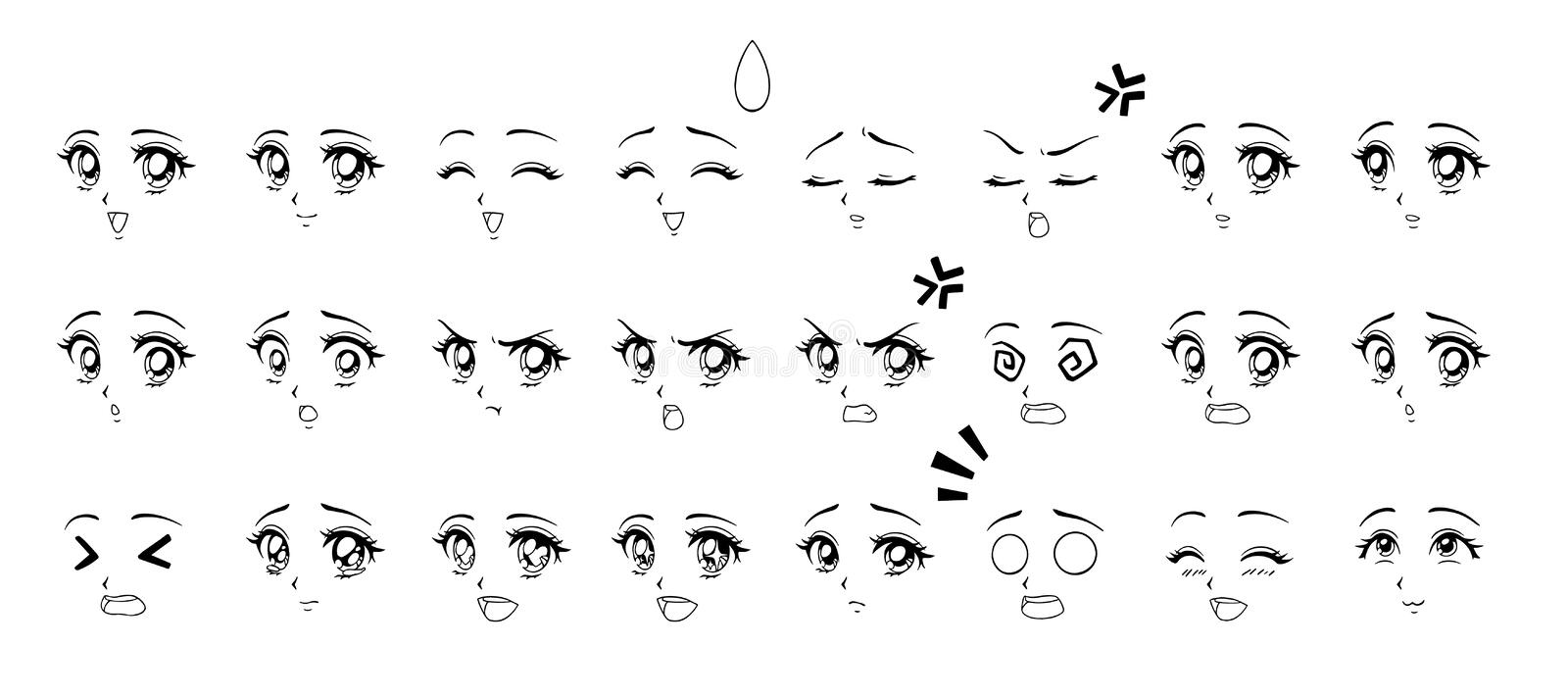 Set of cartoon anime style expressions. Different eyes, mouth, eyebrows. Contour picture for manga. Hand drawn vector illustration isolated on white background royalty free illustration