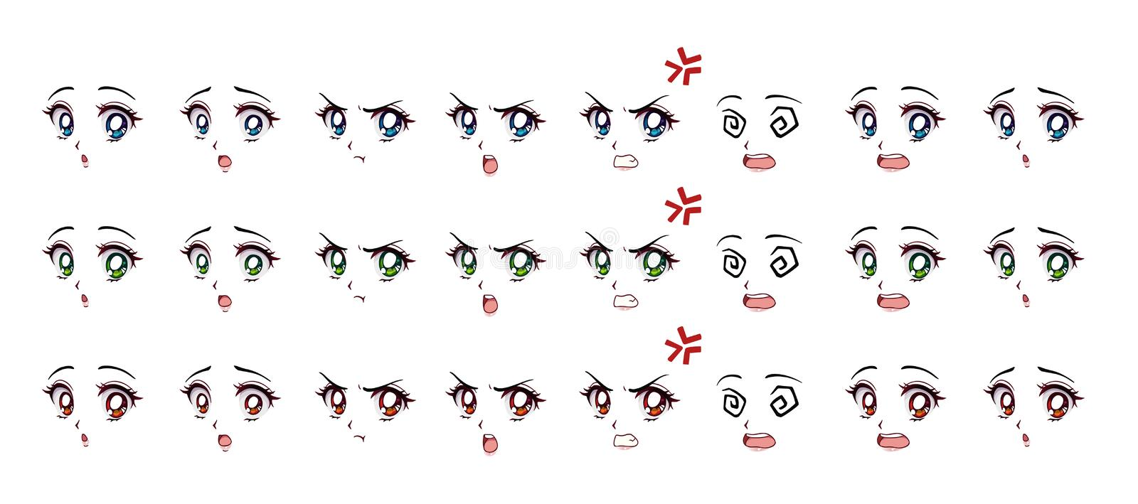 Set of cartoon anime style expressions. Different eyes, mouth, eyebrows. Three different colors red, green, blue. Hand drawn vector illustration isolated on stock illustration