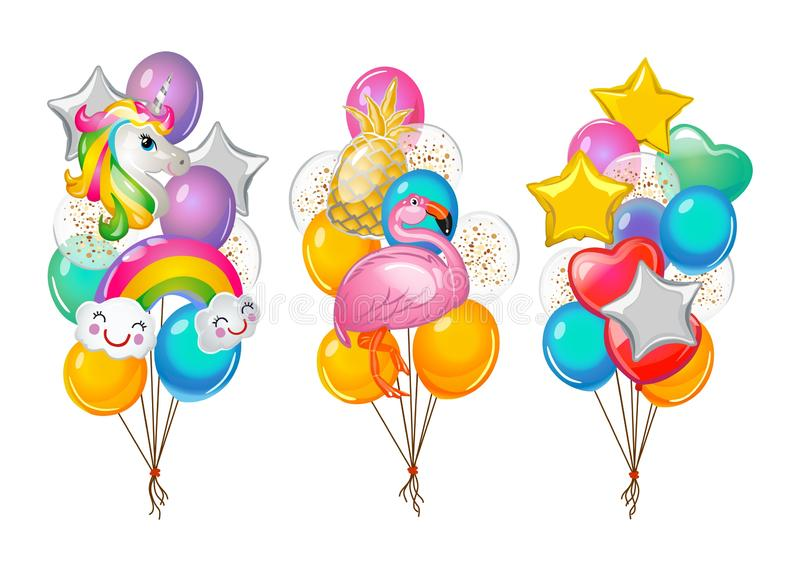 Set of cartoon balloons bunches isolated on white background. Flamingo, unicorn, rainbow and pineapple balloons. Vector royalty free illustration