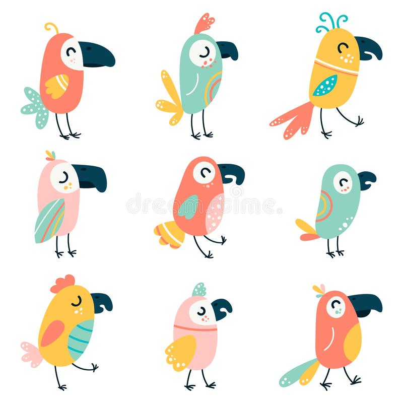 Set of cartoon beautiful parrots and wild birds. Funny baby macaw parrots. Vector illustration on a white isolated stock images