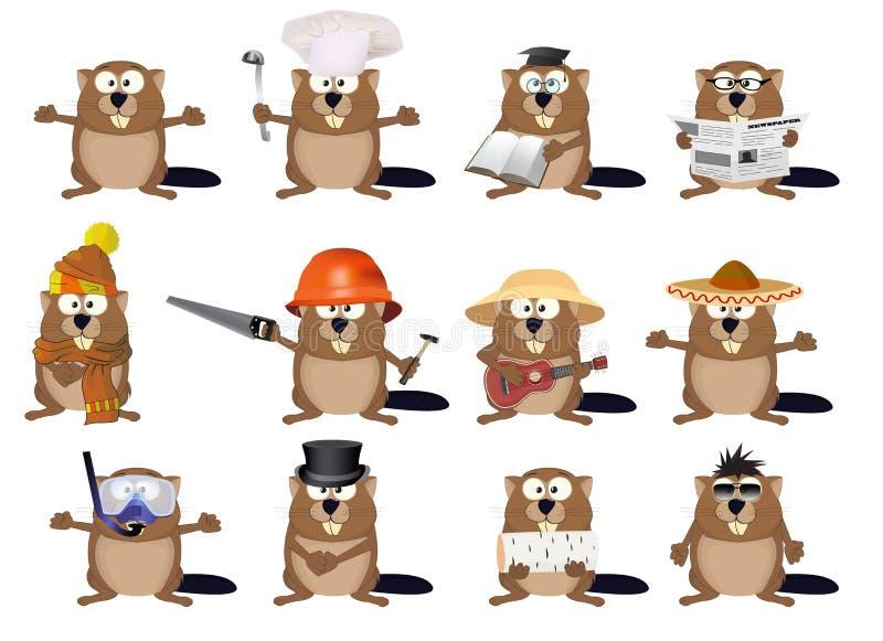 Set of cartoon beavers royalty free illustration