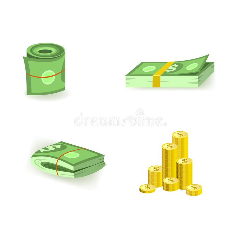Set of cartoon bill money currency elements with packs of green dollar paper banknotes and gold coins. Set of cartoon bill money currency elements with packs of