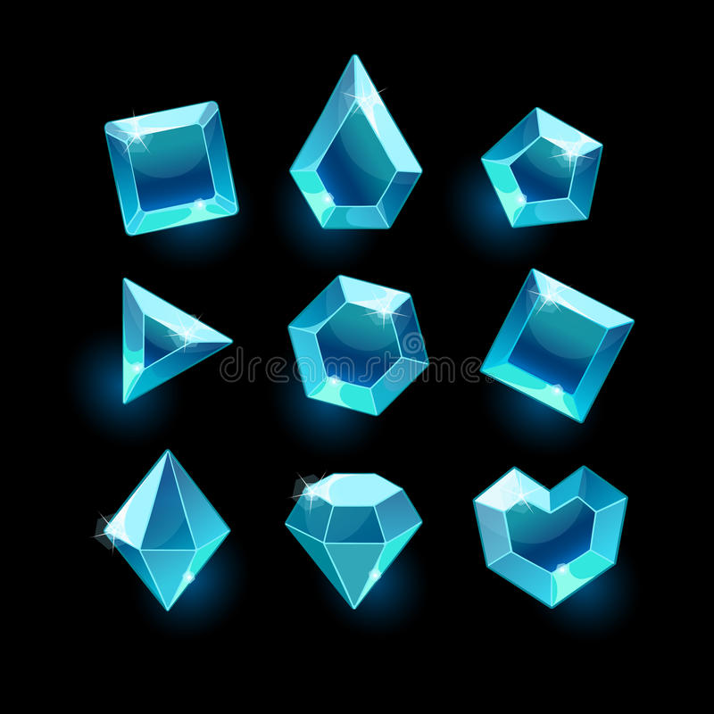 Set of cartoon blue different shapes crystal royalty free illustration