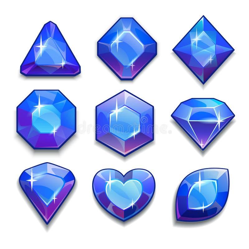 Set of cartoon blue jewels vector illustration