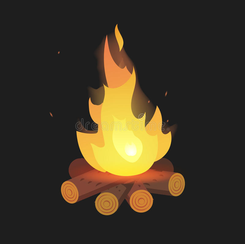 set of cartoon bonfire on logs on black background isolated rh dreamstime com cartoon bonfire night cartoon bonfire night pictures