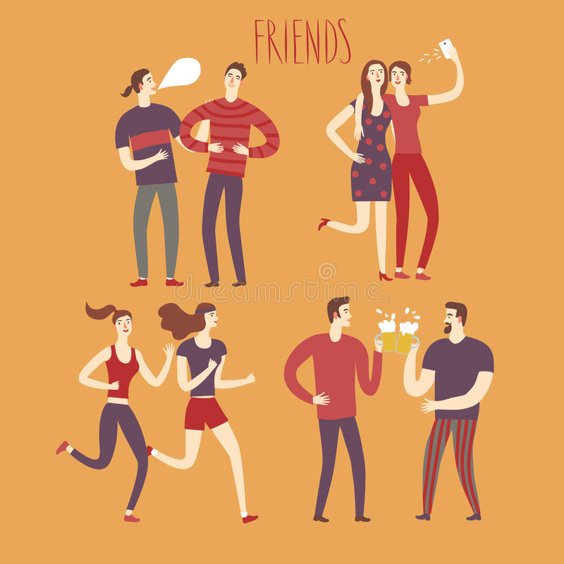 Set of cartoon boys and girls friends in various lifestyles. Characters illustrations for your design royalty free illustration