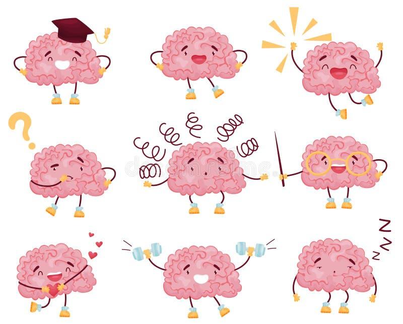 Set of cartoon brain images. Vector illustration on white background. stock illustration