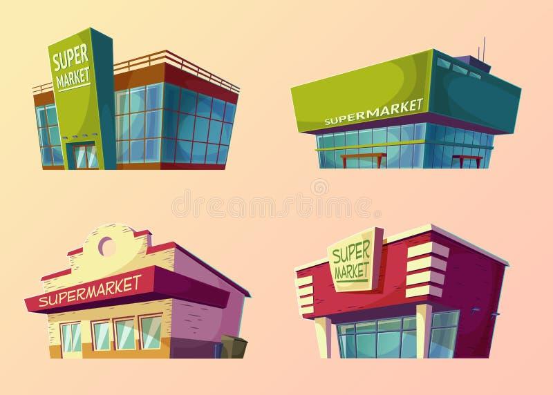 Set of cartoon buildings of modern supermarkets and old shops. Set of cartoon illustrations of buildings of modern supermarkets and old shops stock illustration
