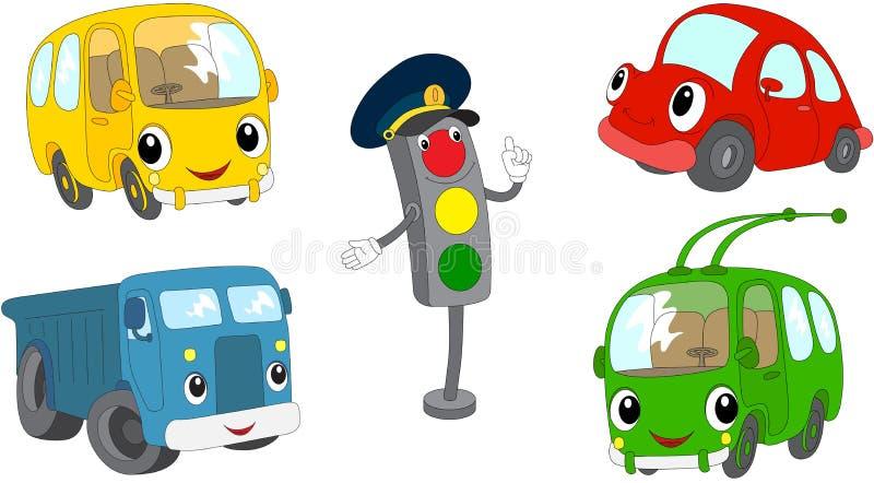 Set of cartoon bus, car, lorry, trolleybus and traffic lights. Vector illustration royalty free illustration