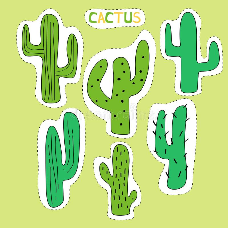 Set of cartoon cactus decorated graphic elements. Green cactus  made in the form of stickers vector illustration