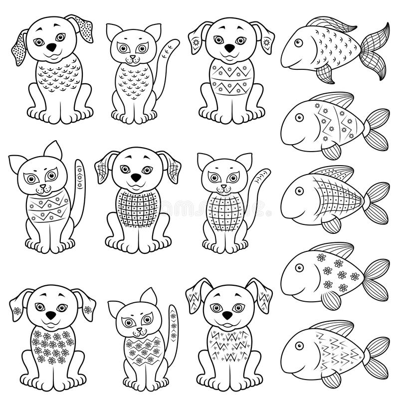 Set of cartoon cats, dogs and fishes stock illustration