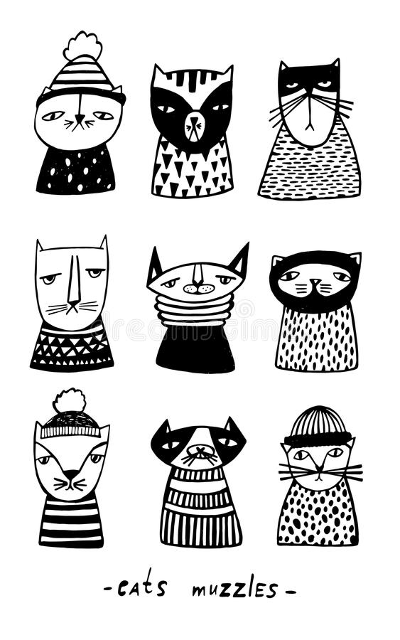 Set with cartoon cats muzzles. Hand drawn doodle kitty collection on white background. Vector illustration. Hand drawn doodle kitty collection on white royalty free illustration