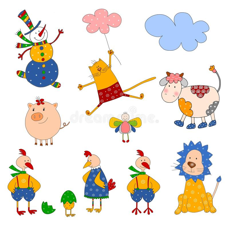 Set Of Cartoon Characters Stock Images