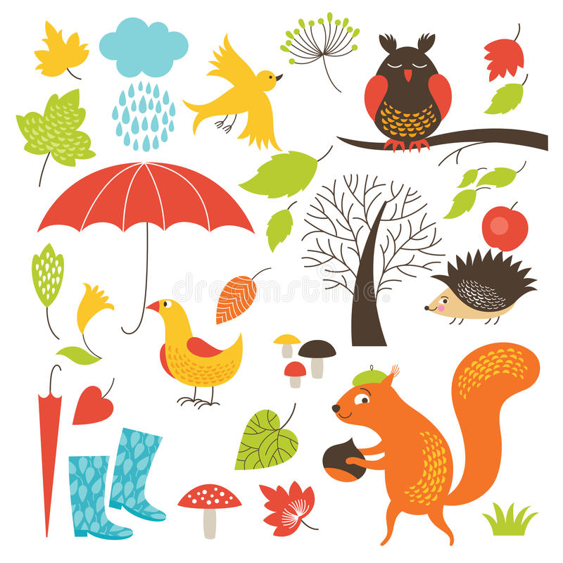 Set of cartoon characters and autumn elements stock illustration