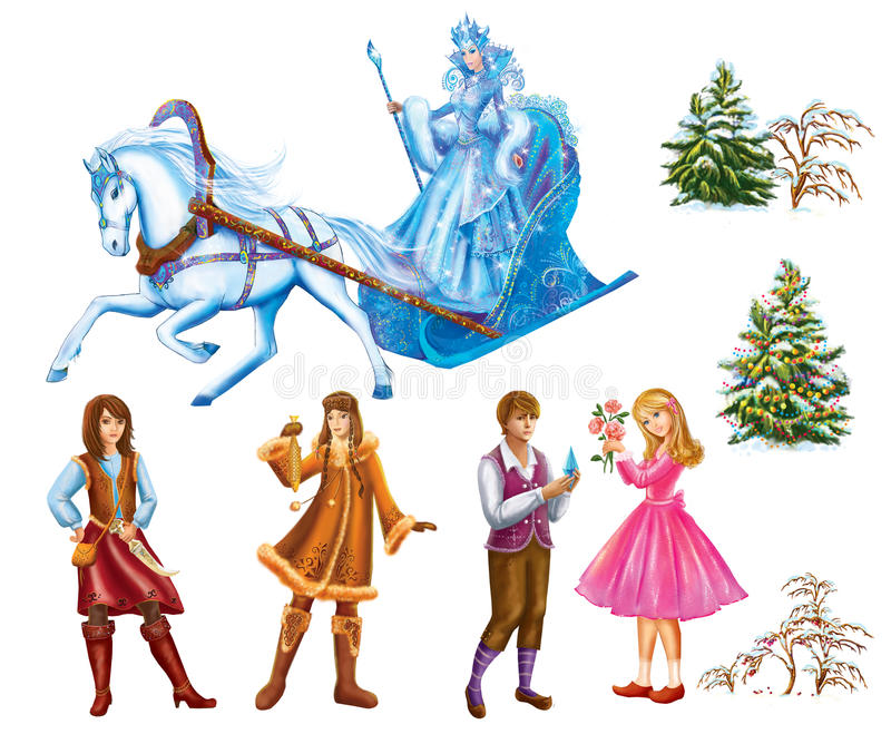 Set cartoon Characters Gerda , Kai , Lappish Womanand trees for fairy tale Snow Queen written by Hans Christian Andersen. Illustration Set cartoon Characters stock illustration