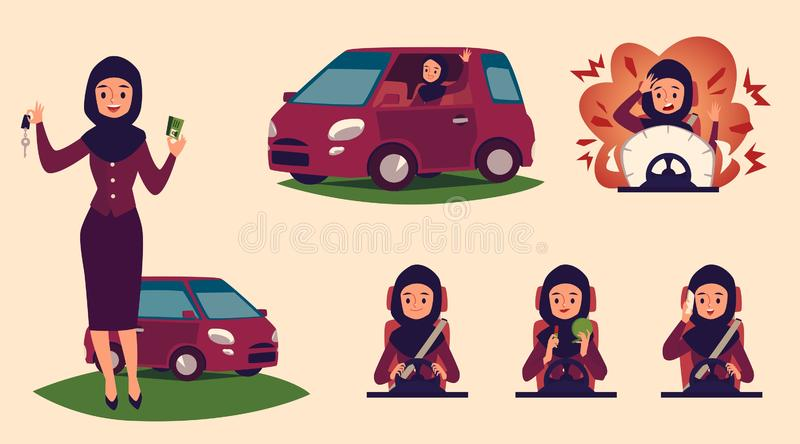Set of cartoon characters of Muslim and Arab women drivers at the wheel, with a license and car. stock illustration