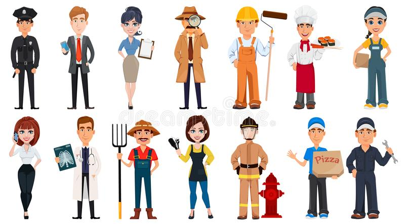 Set of cartoon characters with various occupations. vector illustration